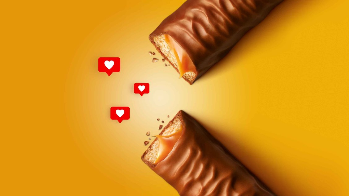 Twix bars with hearts